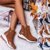 Damen Stiefeletten Stiefel Wildleder-Optik Ankle Boots Keilabsatz Schuhe GR35-43
