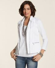 Chicos Women's Crochet Jacket Coat White Lace Moto size 2 10 12 Medium