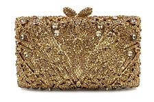 BAG EVENING  GOLD DIAMOMDS CRYSTAL VERY HIGH QUALITY CHAINS 18X12X5.5CM CLUTCH