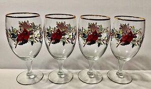 Lenox Cardinal Stem Glasses Winter Greetings Berries Cardinal Gold Trim VTG (4)