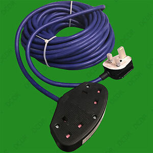 14m Heavy Duty Arctic Grade UK Mains Lead Extension Cable 13A 2 Gang Socket