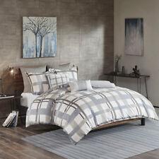 100% Cotton Grey Blue White Stripes Plaid Cal King Queen 3 pcs comforter set