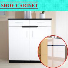 High Gloss White Wooden Extra Large Storage Shoe Cabinet Rack Shelf Organiser