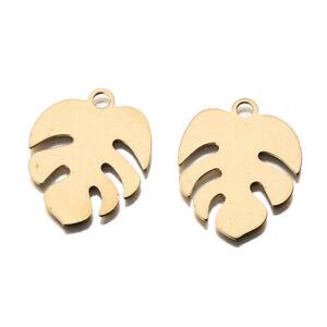 20X Original Brass Monstera Plants Leaf Charms Earrings Pendant For Diy Jewelry