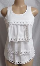 """""""ANN TAYLOR LOFT"""" WHITE SCALLOPED EYELET TIERED FRONT TOP BLOUSE CAMI SZE: M NWT"""