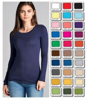 Womens T Shirt Crew Long Sleeve Light Weight Active Basic Stretch Top S/M/L