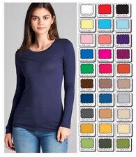 015861e9dcc7 Womens T Shirt Crew Long Sleeve Light Weight Active Basic Stretch Top S/M/
