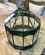 Rare Antique Vintage 12 Sided Leaded & Stained Glass Terrarium