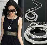 New Fashion Women Crystal Rhinestone Silver Plated Long Chain Pendant Necklace