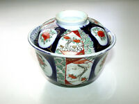 Arita-Imari Ko-Sometsuke Hizen Meiji 1868-1912 Rice Bowl Pair w/Sauce Dish Cover