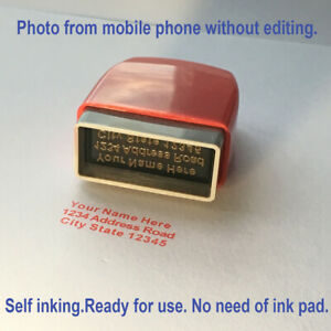 Personalised Name And Return Address Self Inking Rubber Stamp Signature 3lines