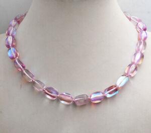 "bright 10x14mm Pink irregular Gleamy Rainbow Moonstone gem Beads Necklace 18"""