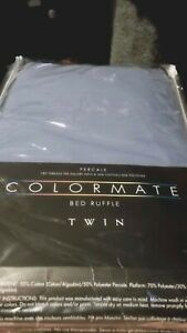 Smoke Blue Colormate Percale Twin Bed Ruffle 39 x 75 New