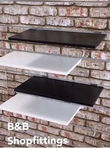 BLACK & WHITE SLATWALL SHELF W/ SMART CHROME BRACKETS 30 X 60 cm LAST OF STOCK!!