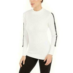 Calvin Klein Womens Cloud Logo-Stripe Long Sleeve Mock-Neck T-Shirt Size XL $49