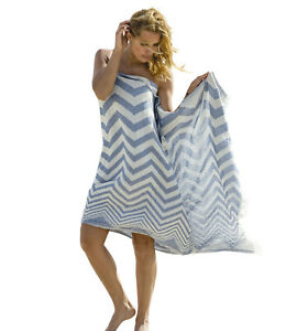 Hamam Cloth Zigzag Blue White Beach Towel Pareo Sauna 90x175 CM 100% Cotton