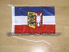 Fahnen Flagge Schleswig Holstein Bootsfahne Tischwimpel - 27 x 40 cm