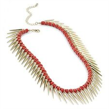 GOLD COLOUR CASCADING SPIKES RED BEAD CHOKER STATEMENT NECKLACE GLAMOUR MODEL