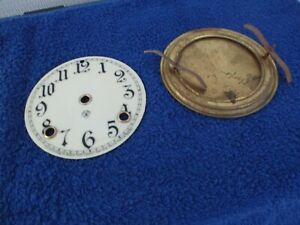 ANSONIA CLOCK PORCELAIN DIAL AND  BRASS BACK DOOR