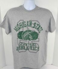 Michigan State Spartans Men's Athletic Department Vtg Print T-Shirt, Gray MEDIUM