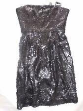 BCBG MAXAZRIA BLACK SEQUIN DRESS Size 2 STRAPS DETACH BONING SUPPORT FULLY LINE