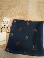 NWT Authentic GUCCI Navy Blue 100% SILK Pocket Square Handkerchief