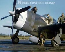 USAAF WW2 P-47 Fighter In The Mood 8x10 Color Nose Art Photo 56th FG WWII