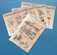 Set of 4 New Glossy Postcards, Vintage Mechanical Blueprints, Engineering 20P