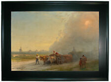 Aivazovsky Ox-carts in the Ukrainian steppe 1888-Black Framed Canvas Print Repro