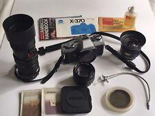 Minolta X-370 vintage SLR 35mm film camera, bag, 3 lenses, filters, accessories