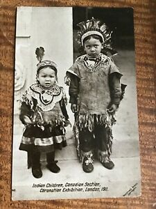 NATIVE CANADIANS Indian Children at CORONATION EXHIBIT 1911 POSTCARD 27/10
