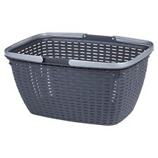 Black Picnic Basket Rattan With Carrying Handles Park Food Storage BBQ Party Can