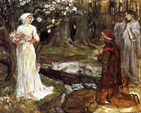Waterhouse Dante & Matilda In Forest Painting 8x10 Real Canvas Art Print