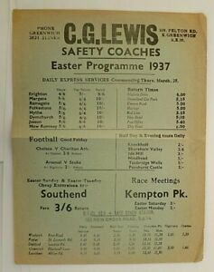 LEWIS C.G. SAFETY COACHES EASTER 1937 ~  COASTAL  EXPRESS SERVICES T/T