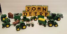 John Deere Ertl Lot of 16 Toy Farm Tractors and Trailers Very Good Condition