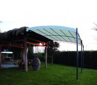 Gazebo Fissaggio Muro 300X400 H Struttura Acciaio Impermeabile Beige 180 gr/m2