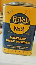 Vintage HiVel No. 2 Military Rifle Powder 16 Oz. EMPTY TIN Hercules Powder Comp.