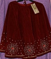 CHRISTMAS TREE SKIRT DILLARDS DELUXE DARK RED WINE HANDCRAFTED BEADED JEWELS NEW