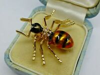 Vintage style Insect ant spider brooch black yellow enamel crystal  beetle pin