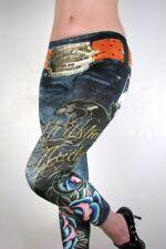 Christian Audigier Velour Crystal Jean Legging Jegging, L, Large, Retail $225