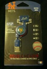 New York Mets Retractable Micro/Mini USB Charge and Sync Cable
