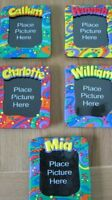 Childrens Named Photo Frame 14 x 12cm Bright and Funky Colour Splash Round Edges