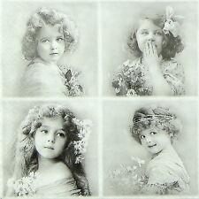 TOVAGLIOLI di carta 4x-vintage quattro ragazze di fiori-per feste, Decoupage CRAFT
