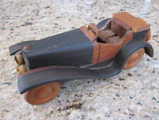 VINTAGE WOODEN WOOD TOY ROADSTER CLASSIC CAR AUTOMOBILE ROLLING WHEELS SIGNED