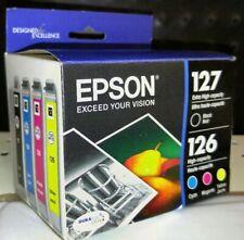 New 4-Pack Epson Genuine 127 Black & 126 Color Ink (No Retail Box) Workforce