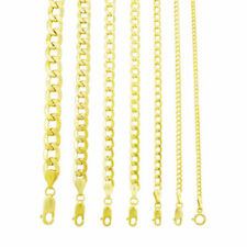 "Oro Amarillo 10K 2mm-11mm collar colgante cadena de Bordillo Cubano Pulsera de enlace, 7"" -30"""