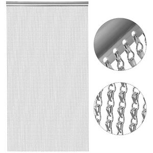 Metal Aluminium Chain Fly Pest Insect Door Screen 90X210cm Curtain Silver