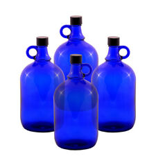 4 Stück Glasballon Flasche 2 Liter blau - Gallone Gärballon Henkelflasche 2L