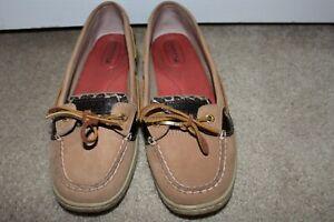 Women Sz 8.5 8 1/2 Sperry Top-Sider Angelfish Boat Shoe Moccasin Tan Cheetah