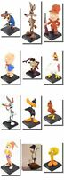 Cartoon Figures, Very Rare (out of production) 8-10cm Tall. Looney Tunes